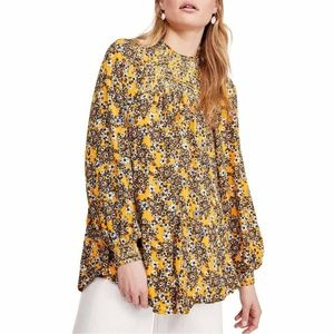 Free People Flowers in Her Hair Tunic Top Yellow